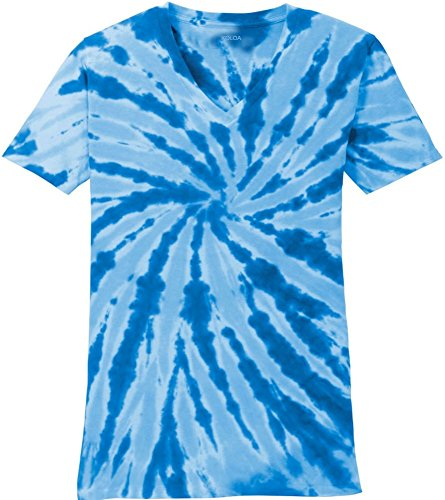 Koloa Surf Ladies Colorful Tie-Dye V-Neck T-Shirt-Royal-M ()