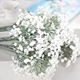 Vacally Artificial Gypsophila Flower Fake Silk Floral Wedding Party Bouquet Home Decor 8 Pcs