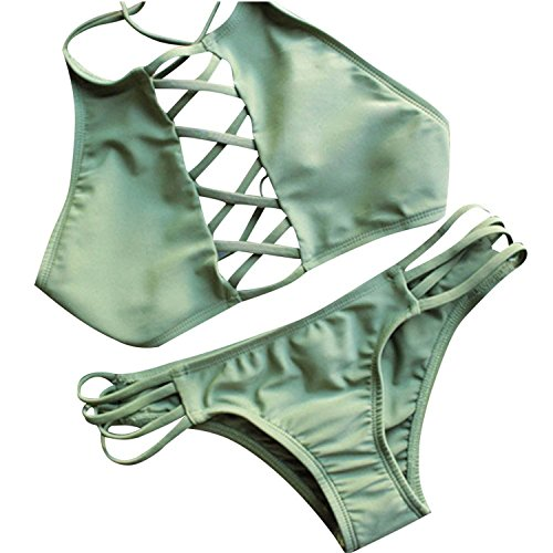 David Salc Women Cut out Vintage Pin up Two Piece Tankini Bikini Set Swimsuits GreenUS 6/8 ()