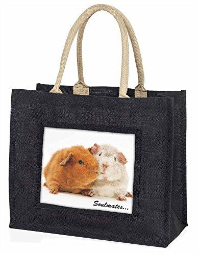 Advanta Soulmates Meerschweinchen Große Einkaufstasche/Weihnachtsgeschenk, Jute, schwarz, 42x 34,5x 2cm