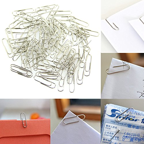1 Set 100Pcs New Office Plain Steel Paper Clips 29mm Paperclips Metal Silver