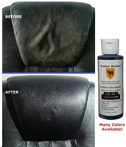 Leather Restore Leather Color Repair, BLACK, 4 OZ Bottle - Repair, Recolor & Restore Leather & Vinyl Couch, Furniture, Auto Interior, Couch, Car Seats, Sofa