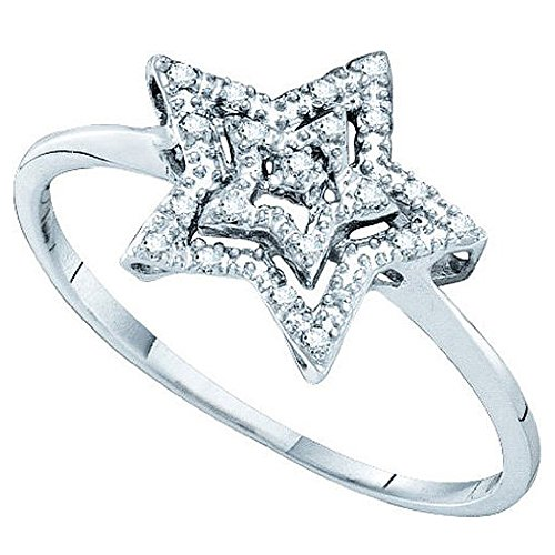 Dazzlingrock Collection 0.04 Carat (ctw) 10K Round Cut White Diamond Ladies Cluster Star Ring, White Gold