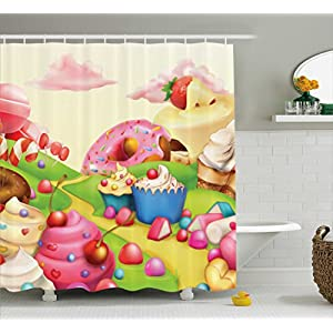 Modern Shower Curtain by Ambesonne, Yummy Donuts Sweet Land Cupcakes Ice Cream Cotton Candy Clouds Kids Nursery Design, Fabric Bathroom Decor Set with Hooks, 70 Inches, Multicolor