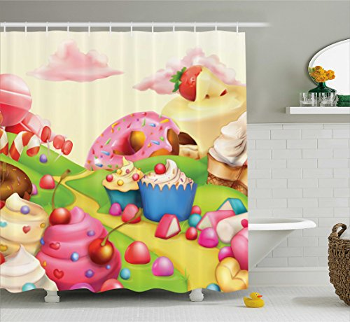 Ambesonne Modern Shower Curtain, Yummy Donuts Sweet Land Cup