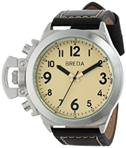 Breda Joseph Men's Cream Dial Black Leather Band Watch [8170-black/cream]