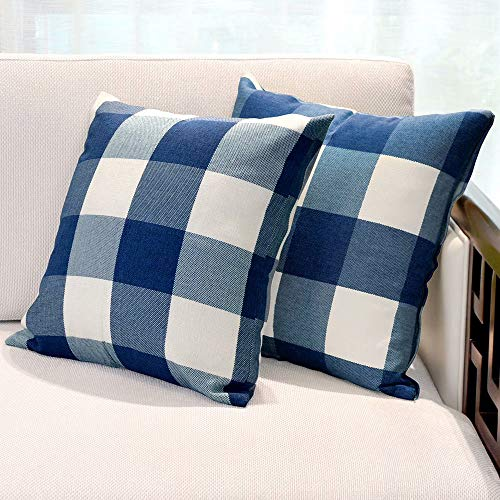 USTYLES Pillow Covers 16 X 16 Decorative Throw Pillows Covers Cotton Line Square Cushion Cases for Sofa Chair Car Bench Bed Office Bar Indoor Outdoor Home Decoration Party Déc(Dark Blue + White)