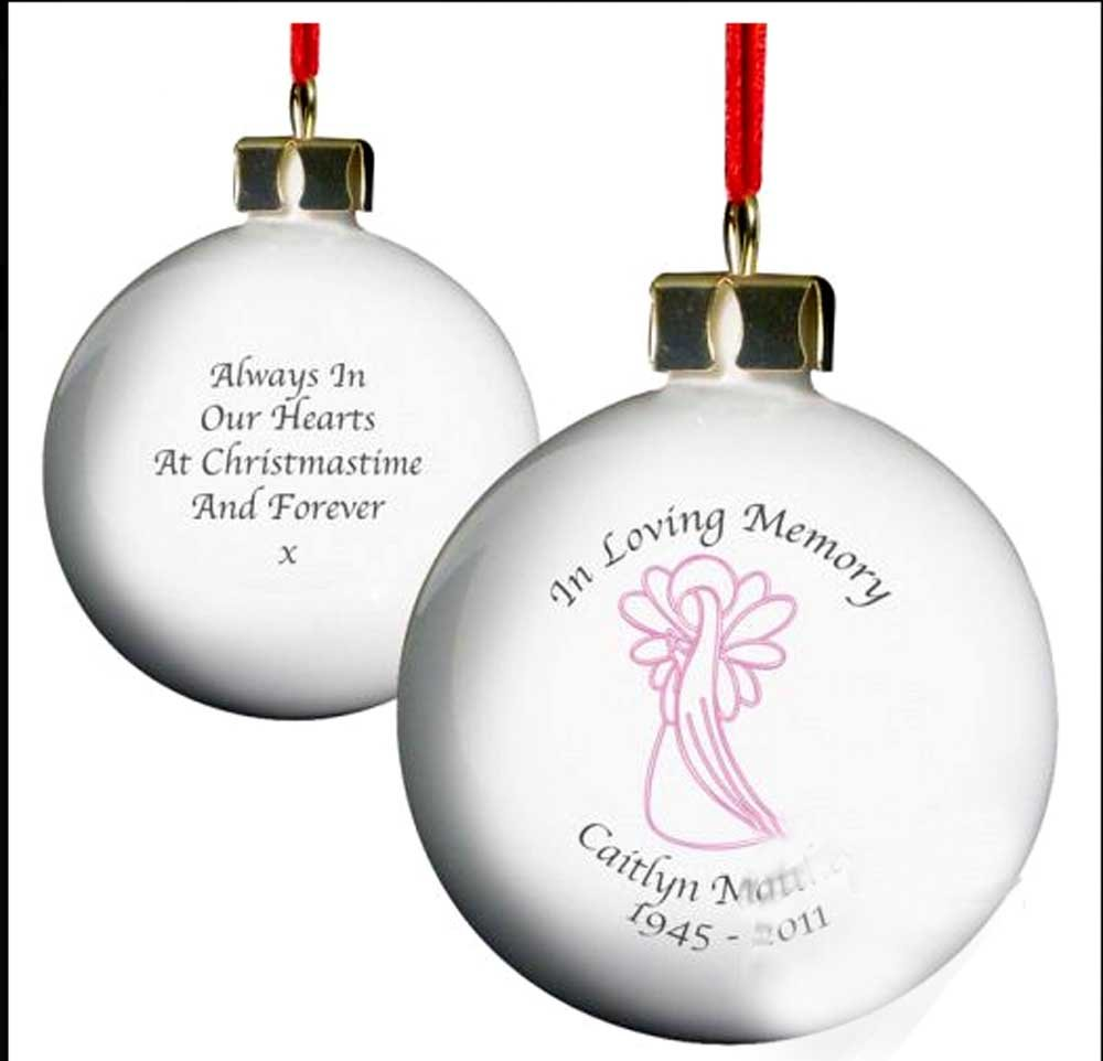 Personalised In Loving memory Christmas tree bauble Pink Guardian ...