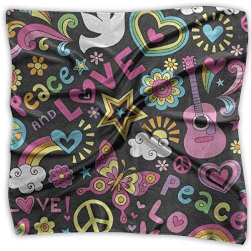Square Scarf Peace Sign Love And Music Butterfly