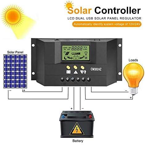 jerry Solar Laderegler, Solarpanel Laderegler, LCD-Display Pwm Dual USB Intelligenter Solar Laderegler Regler 12V / 24V