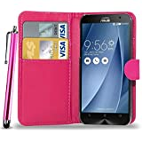 GBOS ASUS ZENFONE 5 LEATHER WALLET BOOK FLIP CASE COVER POUCH CARD & CASH SLOT WITH TOUCH STYLUS PEN PINK