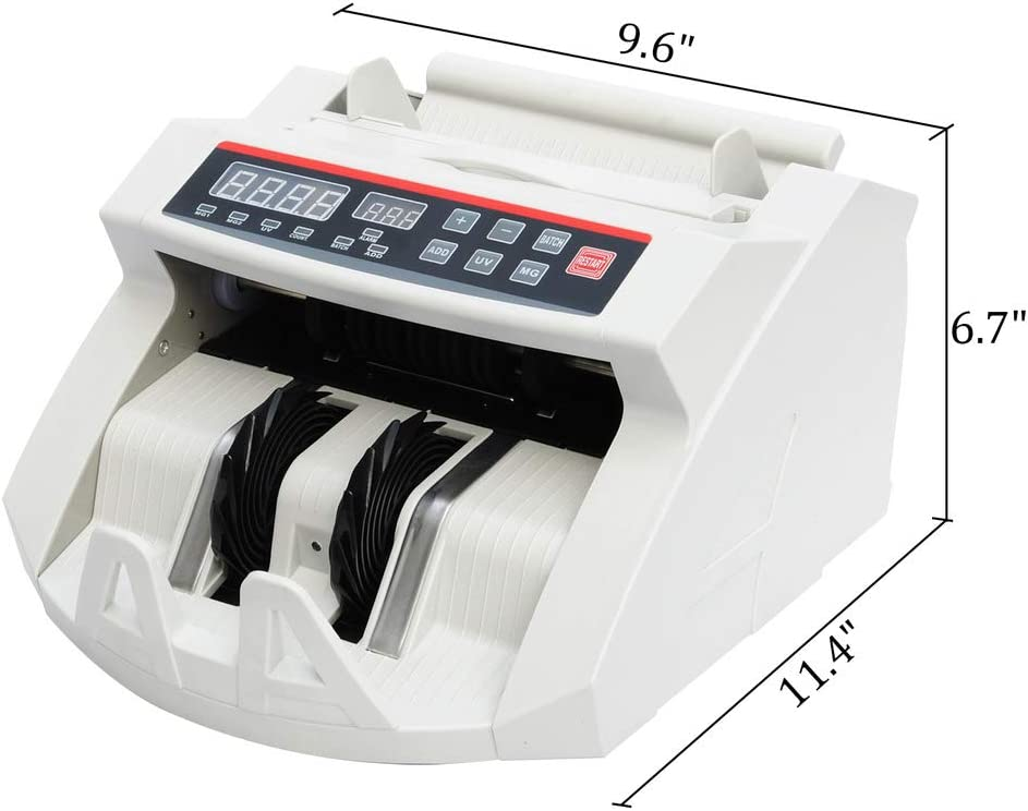 Wotefusi Currancy Counter Counting Machine Business Financial Cash Money Magnetic Uv Detection 110V