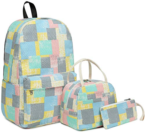 BLUBOON Backpack for Girls School Backpacks Canvas Bookbag with Lunch Bag Pencil Case Teens School Bags Travel Daypack Sets
