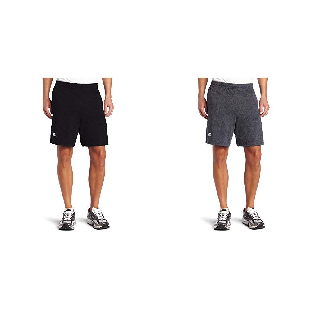 Russell Athletic Men's Cotton Baseline Short with Pockets, Black & Black Heather, Medium by Russell Athletic (Image #1)