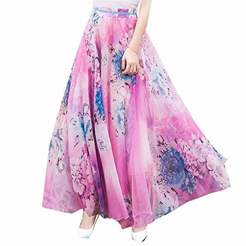 YUCH Lady's Half Dress Robe en Mousseline De Soie Douce Et lgante Jupe De Plage Pink