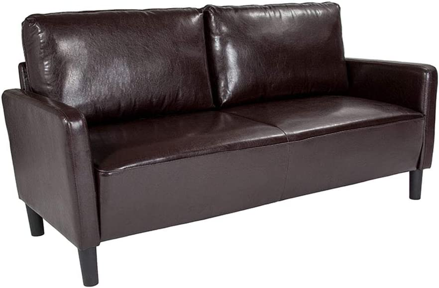 Flash Furniture Washington Park Upholstered Leather Sofa with Straight High Legs, Brown
