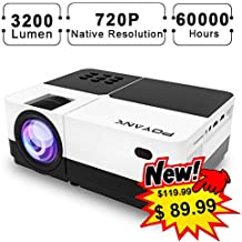 POYANK 3200Lumen Native 720P HD Imaging Video Projector - LCD Video Projector for Home Theater Entertainment, Small Meeting - 60,000 Hours LED Home Projector, AV,HDMI,USB,TV,SD,XBOX,DVD Player Support