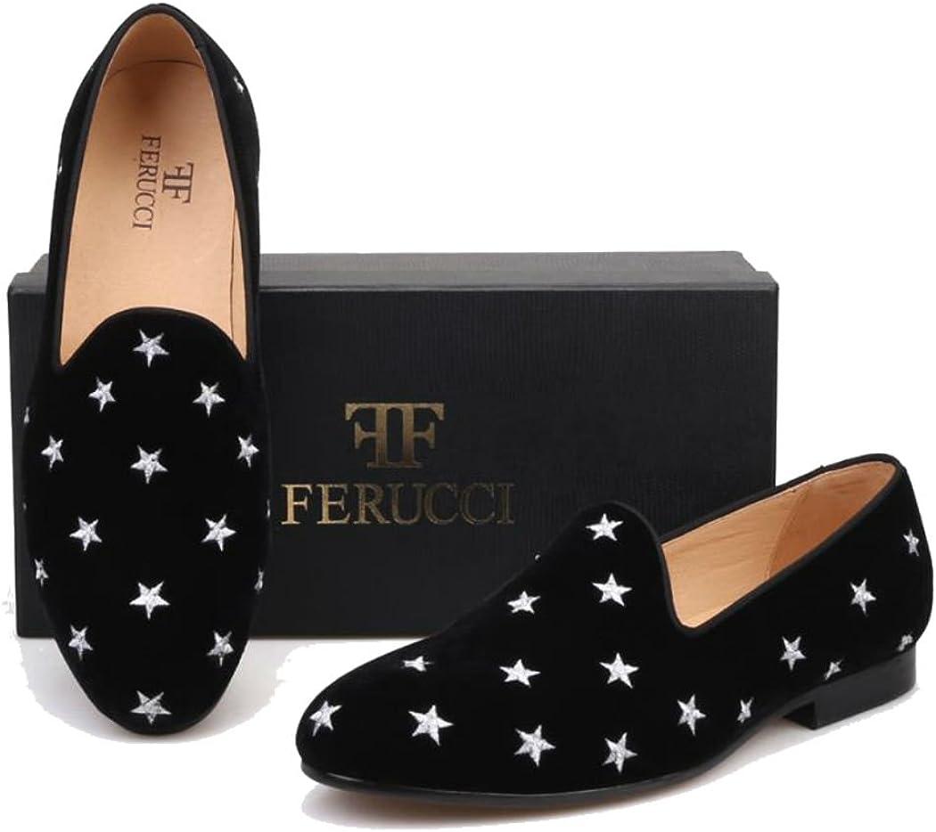 FERUCCI Handmade Men Black Velvet Slippers Flats Loafers with Silver Stars