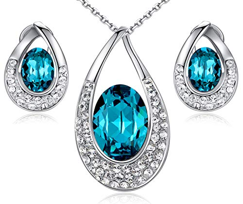 Leafael [Presented by Miss New York Angel's Teardrop Made with Swarovski Crystals Blue Zircon Jewelry Set Earrings Necklace, 18+ 2