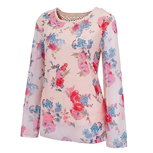 Tops Manches Automne hiver Xinantime T Dentelle Pour Rose Longues shirt Floral Tops en Blouse Femmes femmes Vente Chemise chaude Imprim fwdqx0Fx