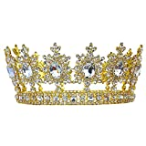 Men's Pageant Imperial Tiara Full Circle Round Gold King Crown T1791