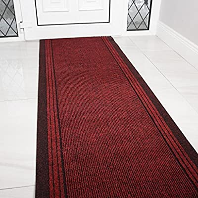 """The Rug House Red Rubber Backed Very Long Hallway Hall Runner Narrow Rugs Custom Length - Sold and Priced Per Foot - How to buy: This runner is sold and priced per foot, please select the length you require from the drop down box. Size: 2'2"""" (66cm) Wide - You choose the length you require. Depth: 5mm DESIGN CODE: Concorde Red - runner-rugs, entryway-furniture-decor, entryway-laundry-room - 51YoISzrEYL. SS400  -"""