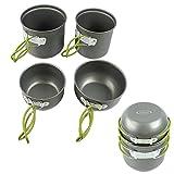 G4Free Outdoor Camping pan Hiking Cookware Backpacking Cooking Picnic Bowl Pot Pan Set 4 Piece Camping Cookware Mess Kit