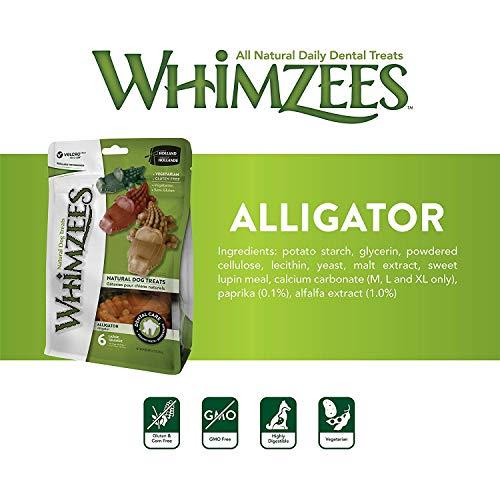 Whimzees 24 Count Medium Alligator Chews, Gluten Free Natural Dog Treats