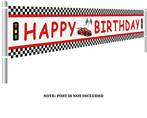 Lager Race Car Happy Birthday Banner, Red Racing Themed Party Supplies & Decoration Backdrop Background Photo Booth Props (9.8 x 1.5 feet)