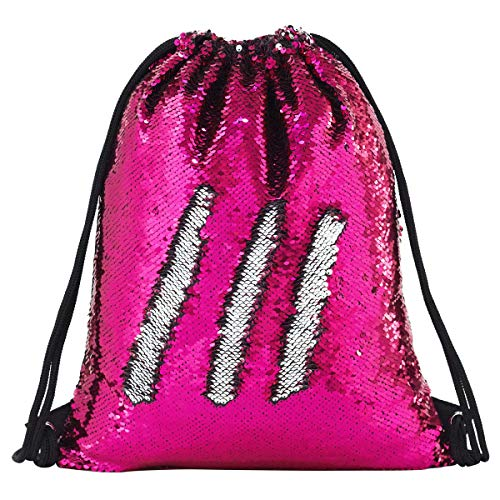 (Mermaid Drawstring Bag Magic Reversible Sequin Backpack Glittering Dance School Bag for Yoga Outdoors Sports,Mothers' Day Gift for Girls Women Kids(Rose/silvery))