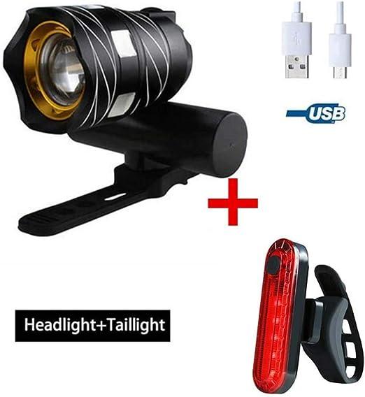 El deslumbramiento Luz Bicicleta Recargable USB Súper Brillante ...