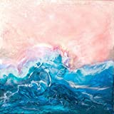 PINK SKIES MOTHER OF PEARL LARGE BLUE WAVE PRINTED ON PREMIUM 100% RAG (COTTON) WHITE 140LLB ARCHIVAL PAPER