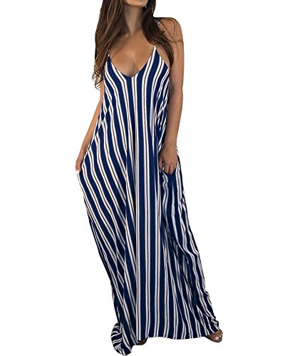 Gobought Womens Striped Spaghetti Straps V Neck Loose Beach Maxi Dress with Pockets