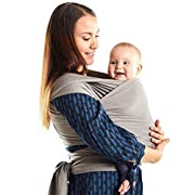 Boba Baby Wrap Carrier Bamboo, Light Grey - The Original Child and Newborn Wrap, Perfect for Infants and Babies Up to 35 lbs (0-36 Months)