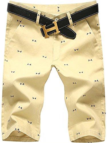 HENGAO Men's Fashion Chino Cotton Mid Rise Bermuda Board Shorts