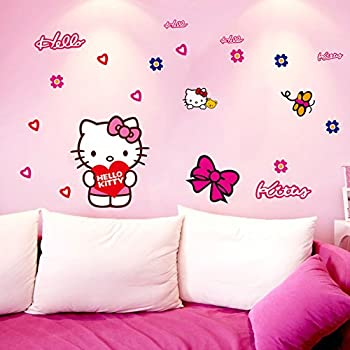 Fangeplus(TM) DIY Removable Hello Kitty Art Mural Vinyl Waterproof Wall  Stickers Kids Room