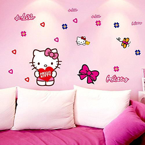 Fangeplus(TM) DIY Removable Hello Kitty Art Mural Vinyl Waterproof Wall Stickers Kids (Hello Kitty Wallpaper)