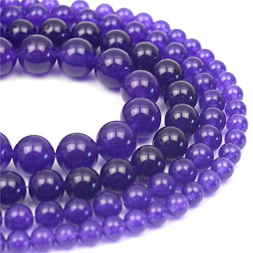 Oameusa Natural Round Smooth 8mm Purple Chalcedony Beads Gemstone Loose Beads Agate Beads for Jewelry Making 15
