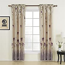 """100"""" W x 84"""" L (One Panel) 20 sizes available Country Rustic Polyester Purple Floral Blackout Curtains Grommet Top Curtains Window Treatment Draperies & Curtains Panels"""