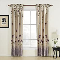 "42"" W x 63"" L (One Panel) 20 sizes available Country Rustic Polyester Purple Floral Blackout Curtains Rod Pocket Curtains Window Treatment Draperies & Curtains Panels"