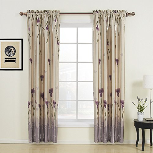 42″ W x 84″ L (One Panel) 20 sizes available Country Rustic Polyester Purple Floral Lining Blackout Curtains Grommet Top Curtains Window Treatment Draperies & Curtains Panels For Sale