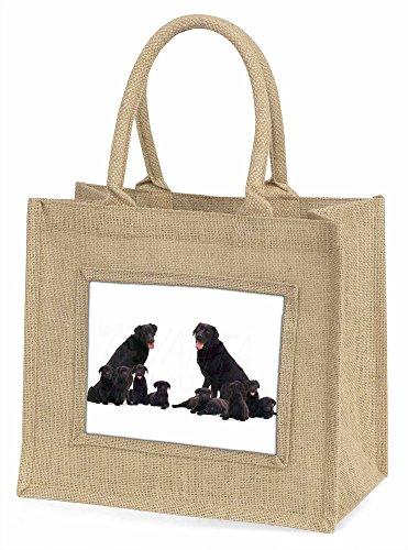 Advanta schwarz Labrador große Einkaufstasche Weihnachten Geschenk Idee, Jute, beige/natur, 42x 34,5x 2cm