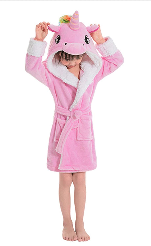 Woneart Girls Kids Unicorn Bathrobe Hooded Dressing Gown Soft Robes Novelty Animal Flannel Sleepwear Loungewear (120 for 110-120cm, Panda)