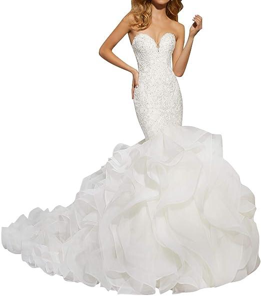 Amazon.com: JAEDEN Vestido de novia de encaje de sirena ...