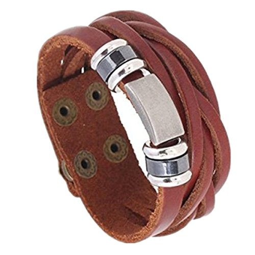Open Metal Studded Leather Belt (Bracelet ,Susenstone Men's Metal Steel Studded Surfer Leather Bangle Cuff Bracelet)