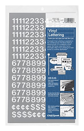High White Vinyl - Chartpak Self-Adhesive Vinyl Numbers, 1/2 Inch High, White, 210 per Pack (01116)