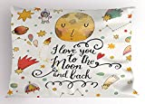 Lunarable Star Pillow Sham, I Love You to the Moon and Back Romantic Quotes Cartoon Planets Moon Astronauts, Decorative Standard Size Printed Pillowcase, 26 X 20 Inches, Mustard Brown