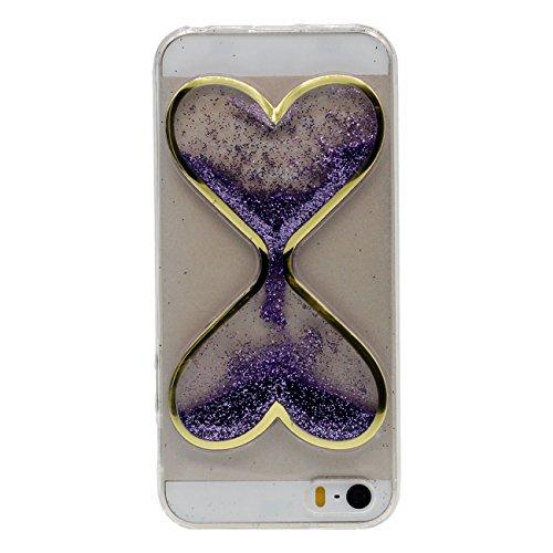 Apple iPhone 5 5S / iPhone SE Coque Housse de Protection Case Antichoc Fine Slim Poids léger Style Souple Silicone Gel Original Sablier Forme Design Effacer Transparent - Pourpre