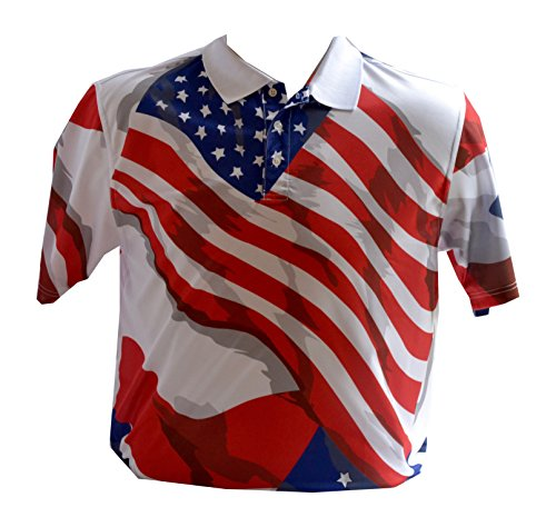 Divots Men's Golf Shirt Patriotic American Flag Design (Large)