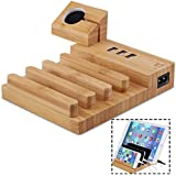 Bamboo Charging Station for Multiple Device Office Electronics Desk Organizer 3 Charging Ports Compatible for Smartphone Tablets Vinyl Record Stand (Cable not Included)